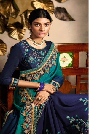 Blue Dola Silk&Georgette Saree with Blouse