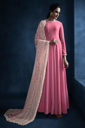 jennifer winget Pink Faux Georgette Salwar Kameez