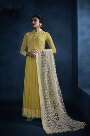 jennifer winget Yellow Faux Georgette Salwar Kameez