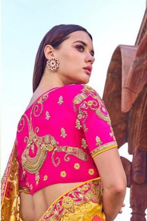 Yellow & Rani Pink Silk Saree with Blouse