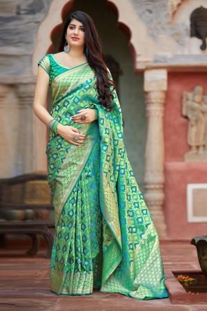 Green & Rama Banarasi Satin Saree with Blouse