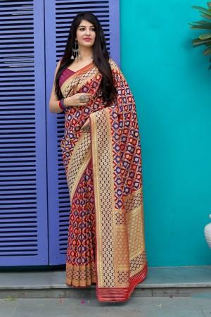 Maroon & Blue Banarasi Satin Saree with Blouse