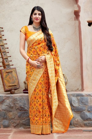 Mustard Banarasi Patola Silk Saree with Blouse