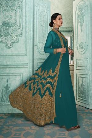 Teal Georgette Anarkali Salwar Kameez