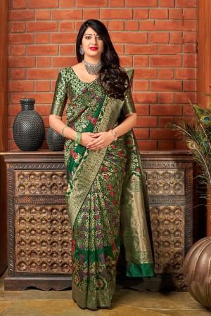 Dark Green Banarasi Silk Saree with Blouse