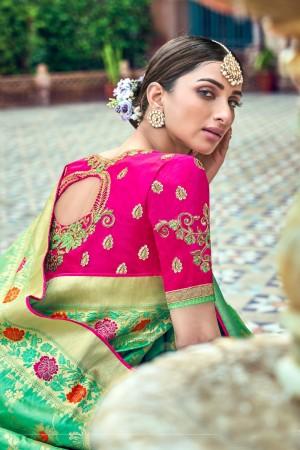 Light Green Banarasi Silk Saree with Blouse