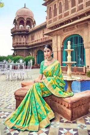 Rama & Lime Banarasi Silk Saree with Blouse