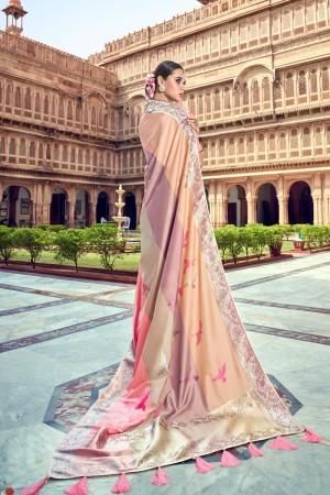Pink & Beige Banarasi Silk Saree with Blouse