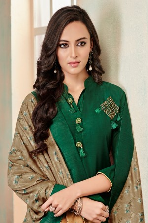 Green Jam Cotton Churidar Suit