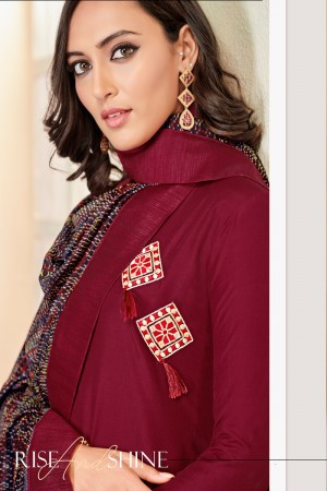 Maroon Jam Cotton Churidar Suit