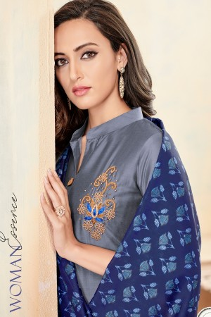 Grey Jam Cotton Churidar Suit