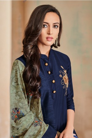 Blue Jam Cotton Churidar Suit