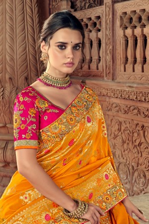Yellow & Orange Banarasi Silk Saree with Blouse