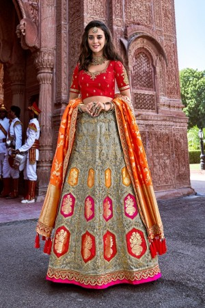 Grey Silk Lehenga Choli
