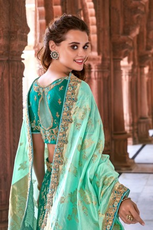 Teal & Mint Silk Lehenga Choli