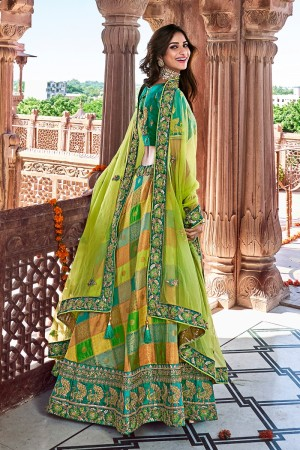Multi Color Silk Lehenga Choli