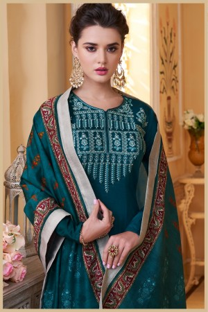 Peacock Muslin Plaazo Suit