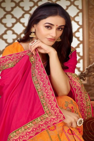 Pink & Orange Vichitra Silk Saree with Blouse
