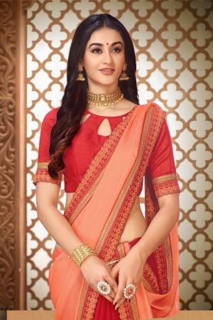 Red & Peach Vichitra Silk Saree with Blouse