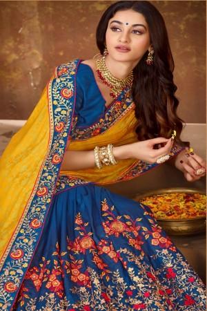 Yellow & Blue Vichitra Silk Saree with Blouse