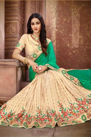 Green & Cream Vichitra Silk Saree with Blouse