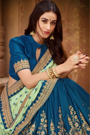 Pista Green & Blue Vichitra Silk Saree with Blouse