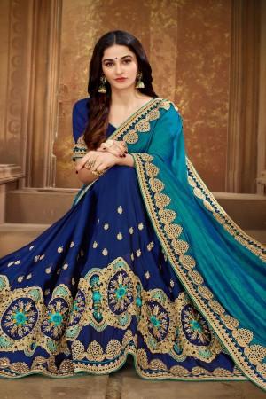 Firozi & Navy Blue Vichitra Silk Saree with Blouse