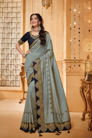 Grey Satin Georgette Saree with Blouse