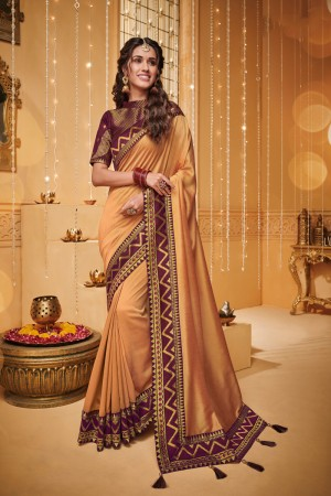 Light Orange Satin Georgette Saree with Blouse