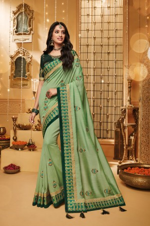 Pista Green Satin Georgette Saree with Blouse