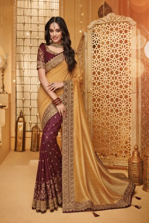 Chiku & Scarlet Satin Georgette Saree with Blouse