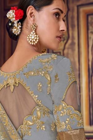 Grey Banarasi Silk Saree with Blouse