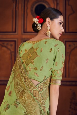 Mehendi Banarasi Silk Saree with Blouse