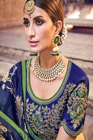 Green & Blue Silk Saree with Blouse
