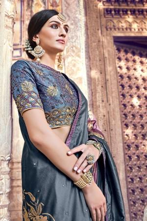 Grey & Lavender Silk Saree with Blouse