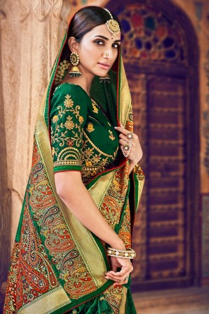 Dark Green Silk Saree with Blouse