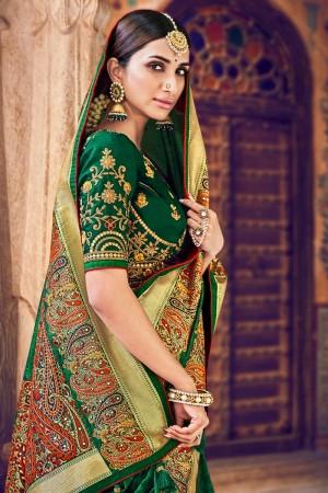 Dark Green Silk Saree with Blouse