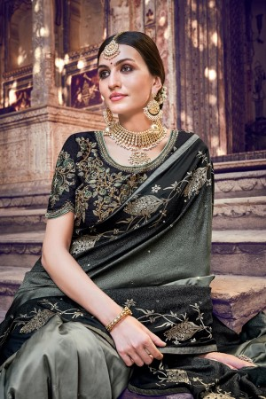Fossil Grey Silk Saree with Blouse