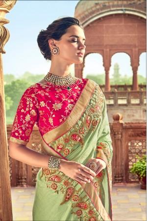 Pista Silk Saree with Blouse