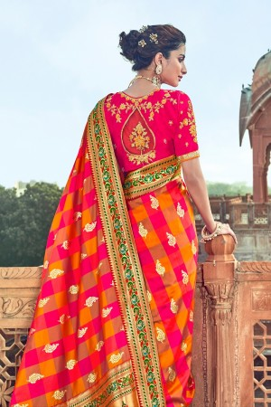 Multi color Banarasi Silk Saree with Blouse