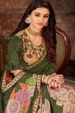 Mehendi Dola Silk Saree with Blouse