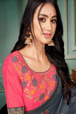 Grey Vichitra Silk Saree with Blouse
