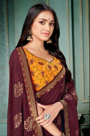 Maroon Vichitra Silk Saree with Blouse