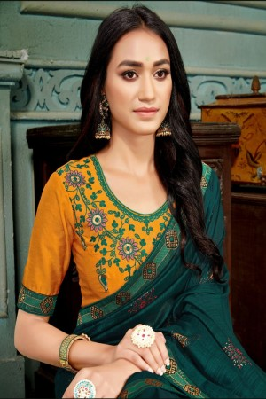 Teal Vichitra Silk Saree with Blouse