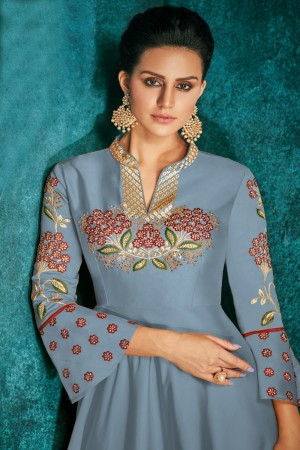 Sapphire Silk Gown
