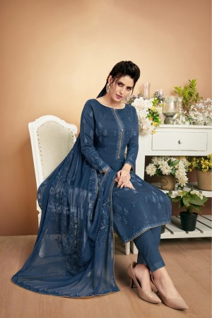 Blue Muslin Plaazo Suit