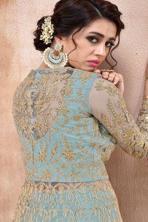 SkyBlue Net Anarkali Suit