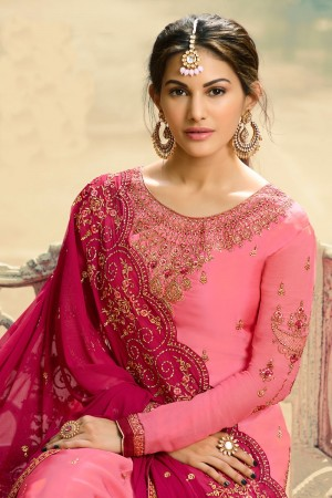 Pink Satin Georgette Sharara Suit