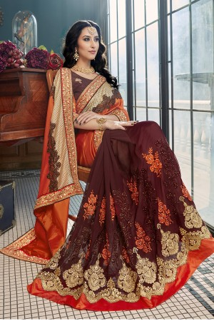 Classic orange Georgette Embroidery and Lace Border