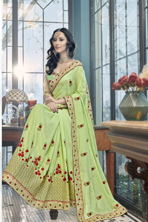 Ravishing Green Georgette Embroidery and Lace Border